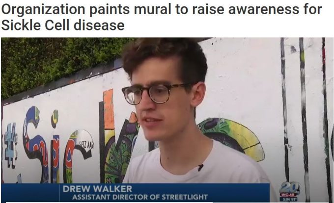 Streetlight Sickle Cell Wall Painting Featured on Gainesville TV20