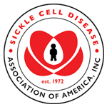 Logo for Sickle Cell Disease Association of America. Black animated figure inside of a heart, surrounded by organization's name.