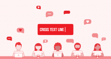 Logo for Crisist Text Line. Animated people with text bubbles floating above them with hearts.
