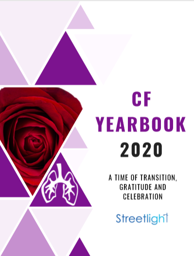 Cover of CF Yearbook, geometric shapes and a red rose